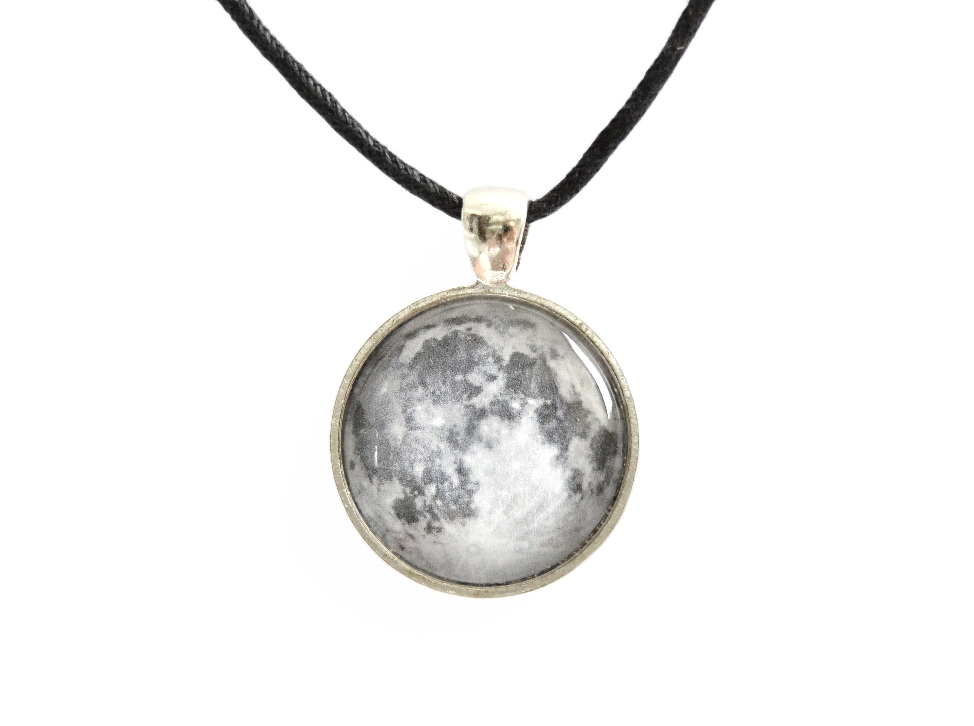 Moon necklace pendant with glass cabochon on luulla moon necklace pendant with glass cabochon aloadofball Images